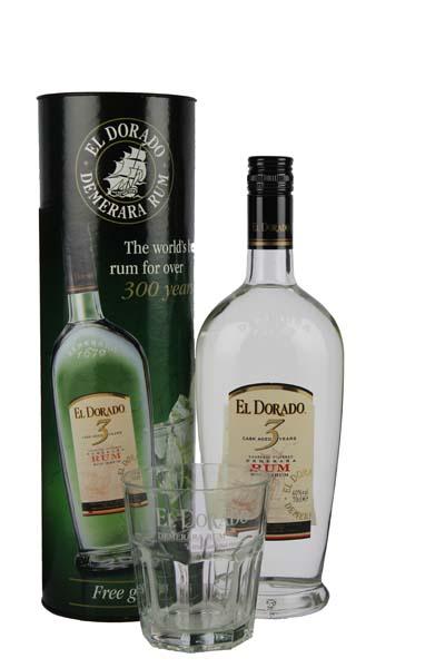 El Dorado Rum 3YO 0,7L + Glas