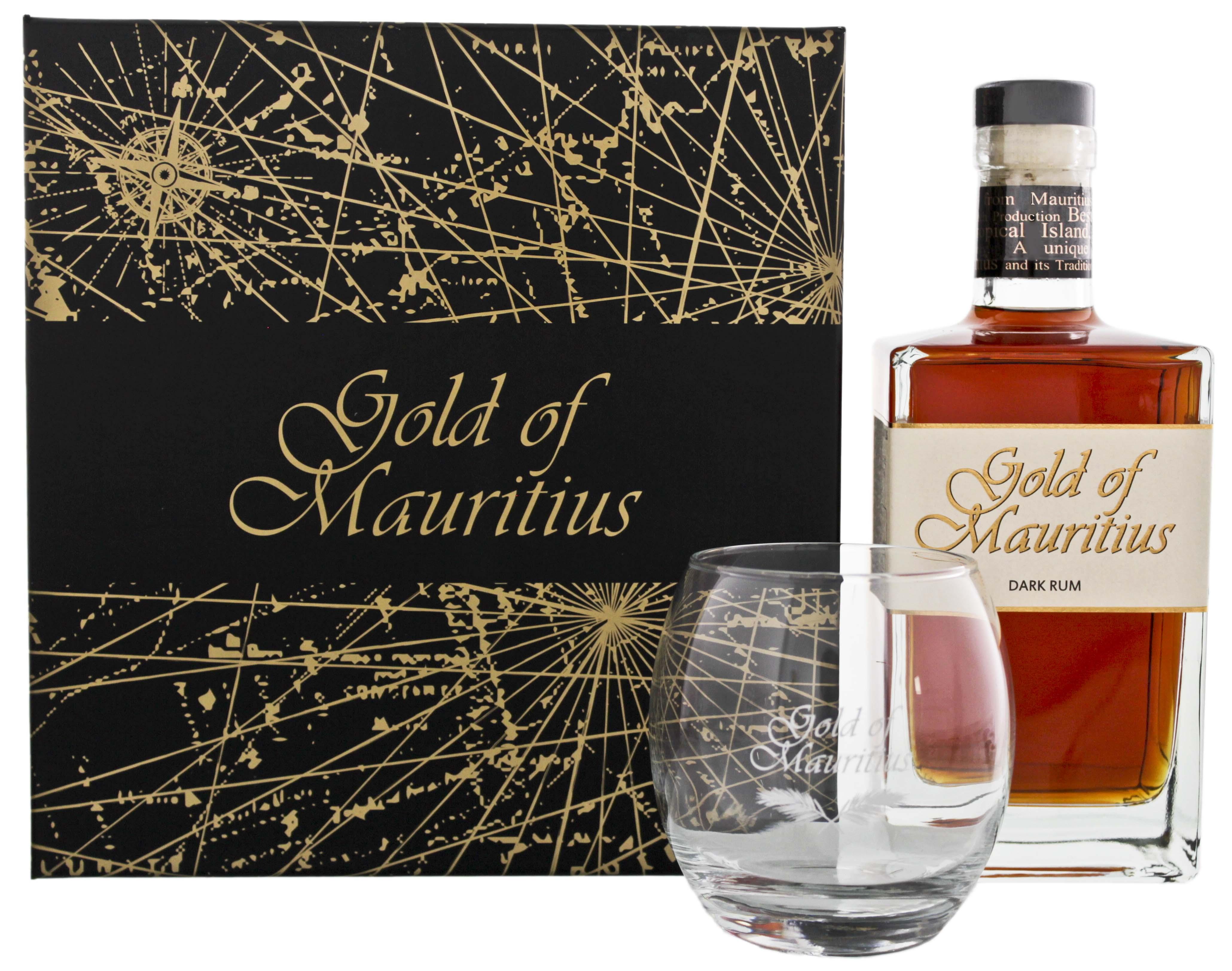 Gold of Mauritius Dark Rum Giftset 0,7L + Glas