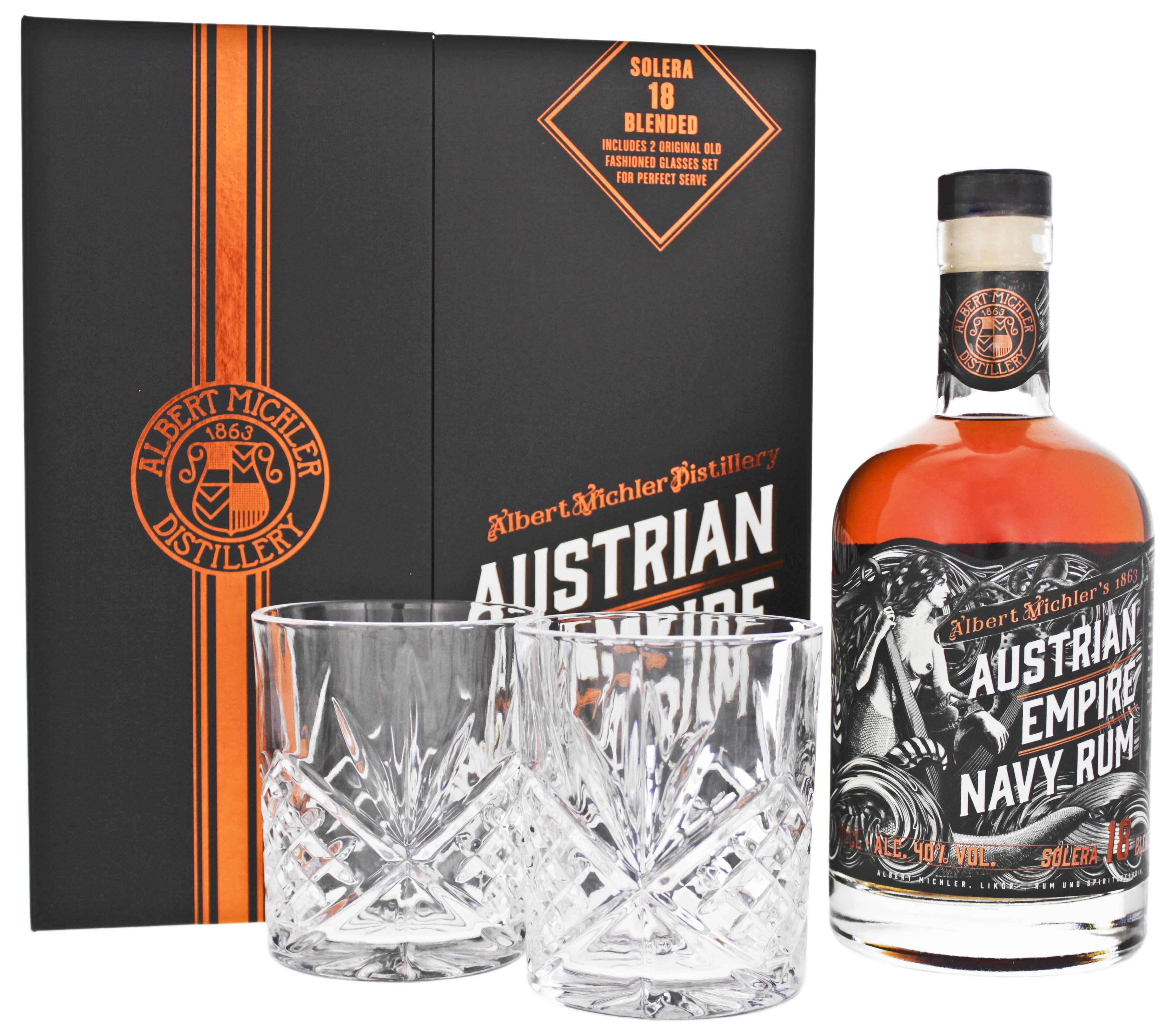 Austrian Empire Navy Rum Solera 18YO 0,7L + 2 Gläser (Old Fashioned)