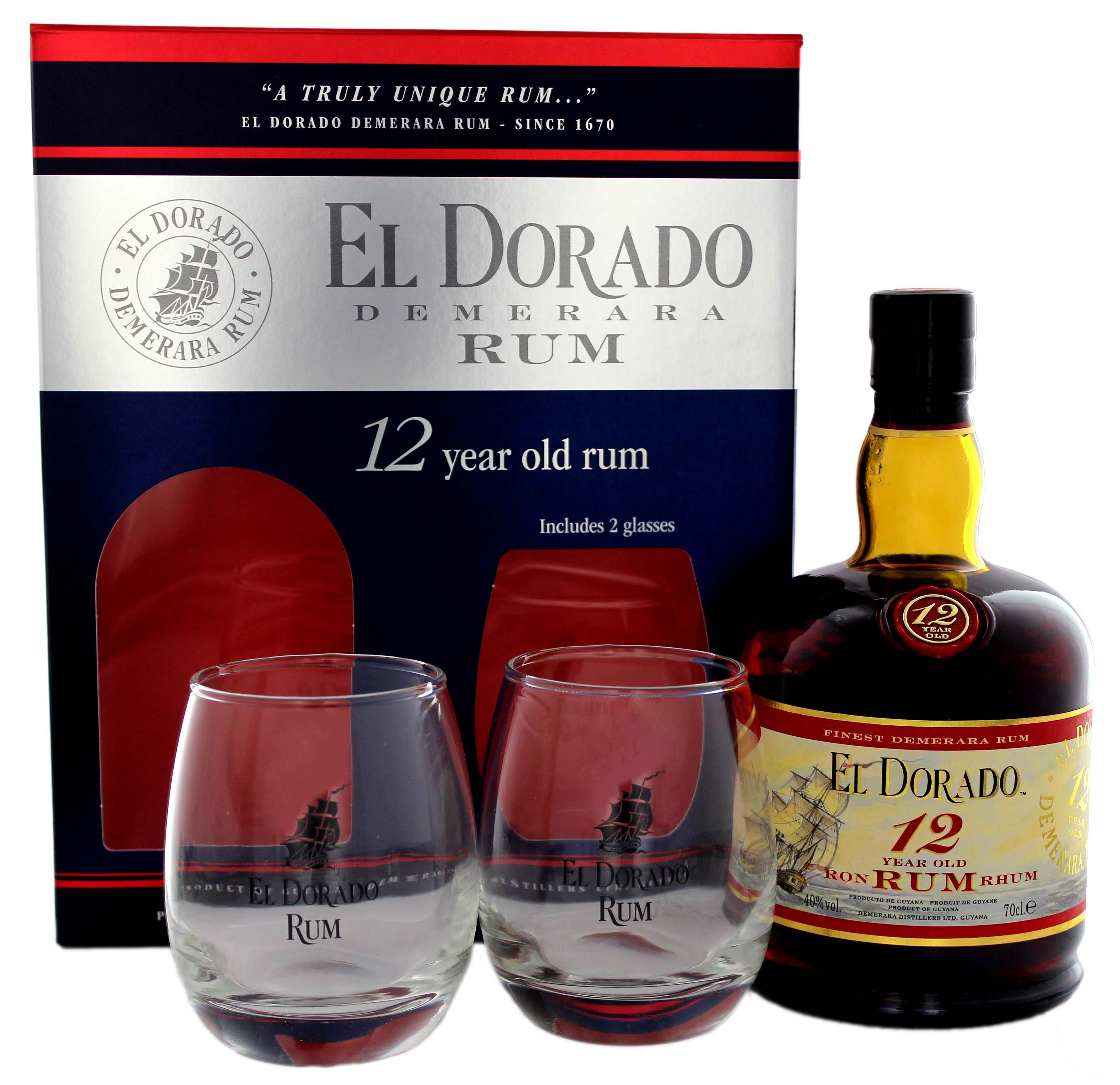 El Dorado Rum 12YO 0,7L + 2 Gläser